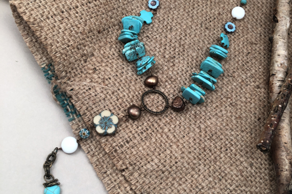 Turquoise Colored Magnesite, Freshwater Pearl, Czech Glass Flower Long Necklace