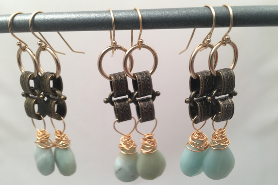 Amazonite and Brass Earrings