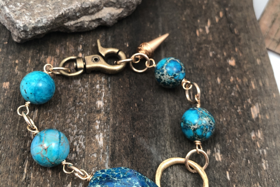 Blue Jasper Chunky Bracelet with Gold and Bronze Accents