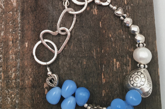 Blue Glass, Hand Forged Sterling links, Pewter beads, silver Hematite, Freshwate