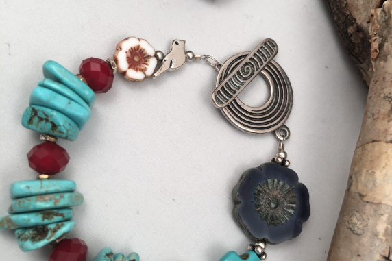Turquoise Colored Magnesite, Czech Glass Flowers and Silver Plated Bracelet