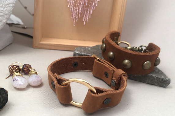 Leather Watch Style Bracelet with Brass Accents