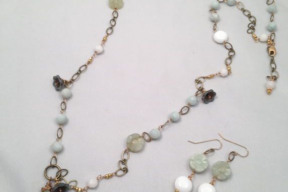 Cool greens and mints long necklace