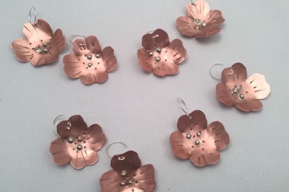 Copper and Sterling Silver Dogwood Flower Earrings