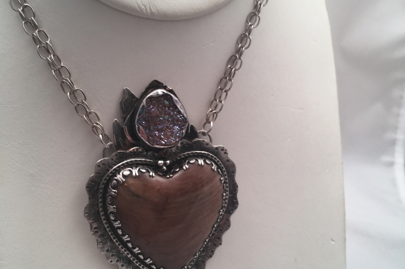 Petrified Heart-Hand Forged Sterling Silver,  Petrified Wood and Drusy Flame Hea