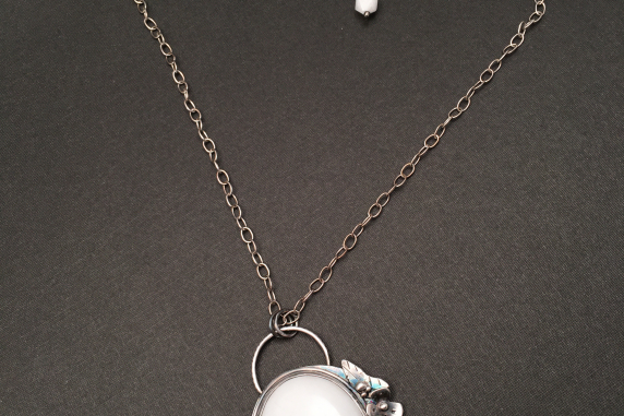 Sterling Silver and Howlite Hand Fabricated Flower Necklace