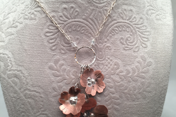 Copper and Sterling Silver Flower Necklace with 3 Flowers