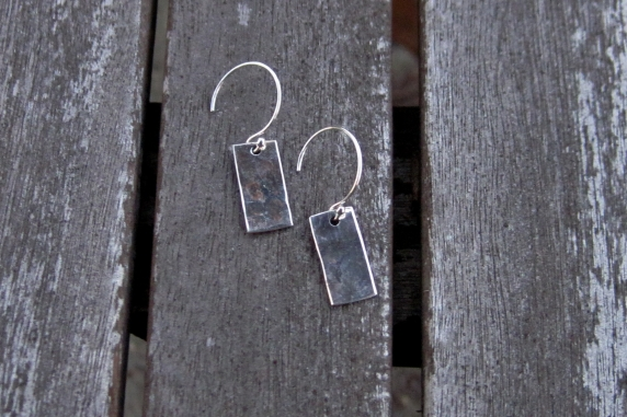 Hand Forged Stering Silver Rectangle Earrings