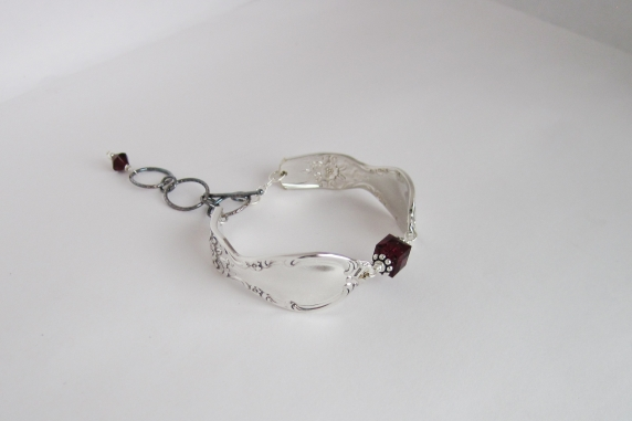 Antique silver plated spoon handle and January Birthstone Color Swarovski Crysta