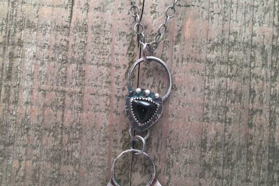 Onyx Triangle and Sterling Silver Arrowhead Rockstar Necklace