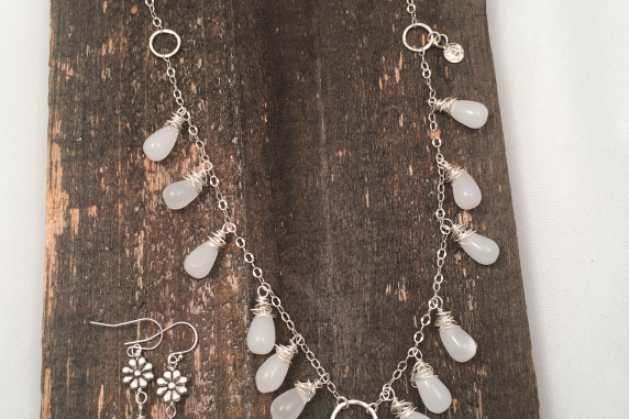 White Glass, Sterling Silver and Pewter Necklace (necklace only)