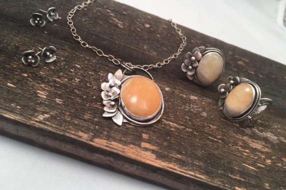 Hand Fabricated Sterling Silver and Yellow Calcite Necklace (1)