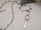 Crochet Long Necklace in Mauve, Gold Tones, Tan and Silver, Plum with Heart, Ham