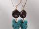 Stone Bunny and Flower Earrings