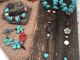 Turquoise Colored Magnesite, Red Skull, Czech Glass Flowers and Spike Bracelet