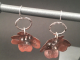 Copper Flower Earrings with Sterling Silver Accents