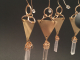 Brushed Brass Triangle and Crystal Spike Earrings (1pr)