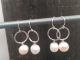 Tiny Sterling Silver Hoops with Freshwater Pearl