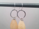 Tiny Sterling Silver Hoops with Yellow Calcite and Freshwater Pearl