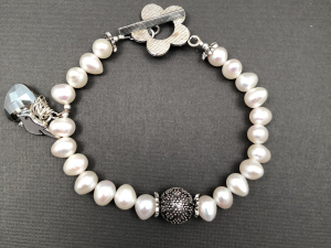 White Freshwater Pearl, Sterling Silver, Pewter and Crystal Bracelet