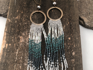 Brass, Blue and Silver Shoulder Sweeper Beaded Earrings