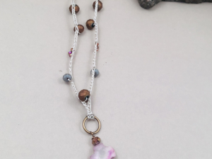 Crochet Long Necklace in Mauve, Bronze, Tan and Grey with Cross and Crystal Spik