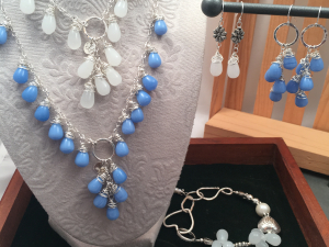 Blue Glass, Sterling Silver and Pewter Necklace