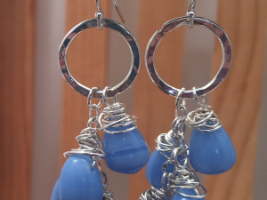 Sterling Silver and Blue Glass Earrings