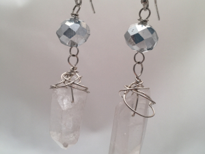 Silver and white quartz crystal spike earrings on sterling silver