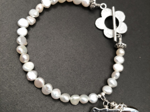 Small White Freshwater Pearl, Sterling Silver, Pewter and Crystal Bracelet