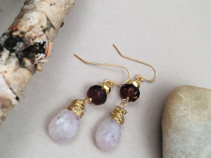 Chalcedony, Czech Glass and Plated Hematite on Gold Earrings