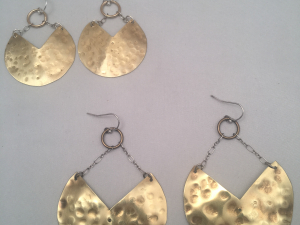 Gong/ Lucky Fortune Cookie Brass and Sterling Silver Earrings