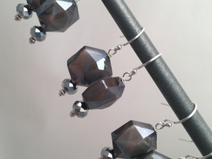 Gray crystal octagon earrings on sterling silver