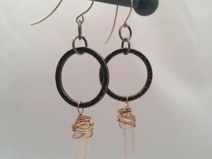 Crystal Spike and Hammered Hoop Earrings