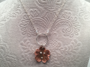 Copper small flower necklace on sterling silver (1 necklace)