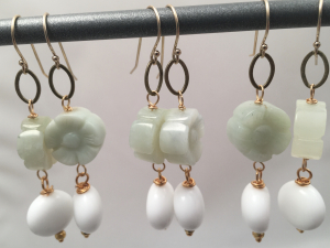 Jadeite Flower Earrings