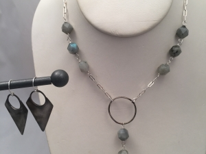 Labradorite and Forged Silver Arrowhead Necklace