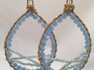 Blue and gray large teardrop hoop wrapped earrings