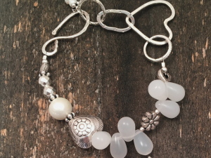 White Glass, Hand Forged Sterling, Pewter, Hematite, Freshwater Pearl Bracelet