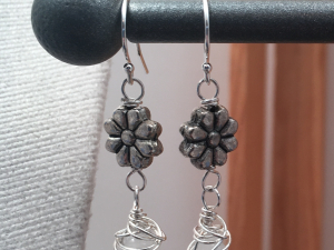 Sterling Silver, White Glass and Pewter Earrrings