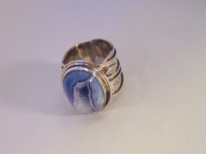 Blue Drusy Leaves Fabricated Ring